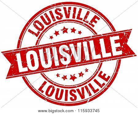 Louisville red round grunge vintage ribbon stamp