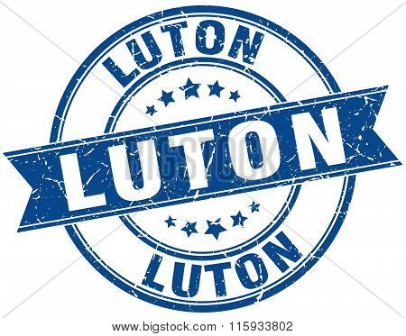 Luton blue round grunge vintage ribbon stamp