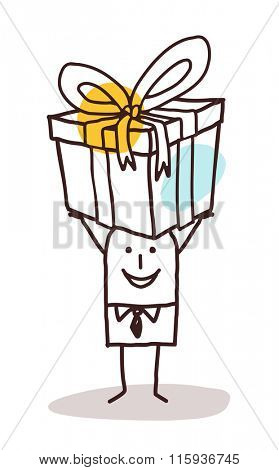 cartoon man carrying a big gift package