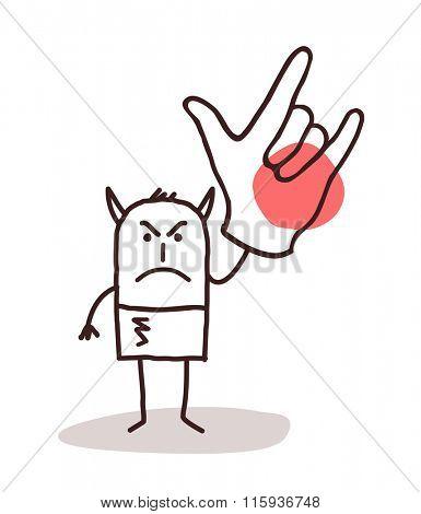 cartoon devil man with big hand sign