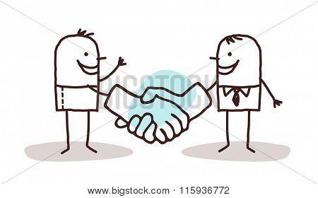two cartoon men shaking big hands