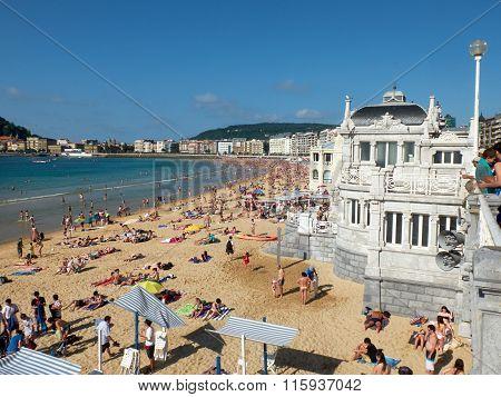 Concha Beach In Concha Bay. San Sebastian, Spain.