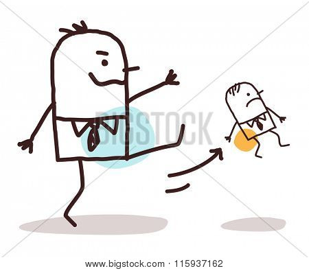 cartoon big boss kicking out a small employee vector