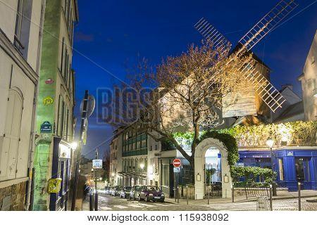The Famous Restaurant Le Moulin De La Galette, Paris, France.