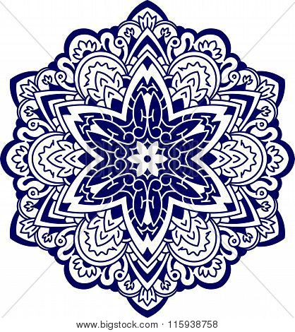 Abstract Vector Round Lace Design - Mandala, Decorative Element In Blue Tones