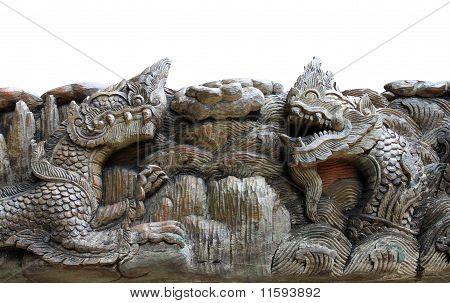 King Of Nagas & Kylin Carving On Teak