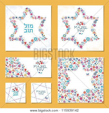 Set Of Universal Cards With Star Of David And Hebrew Words