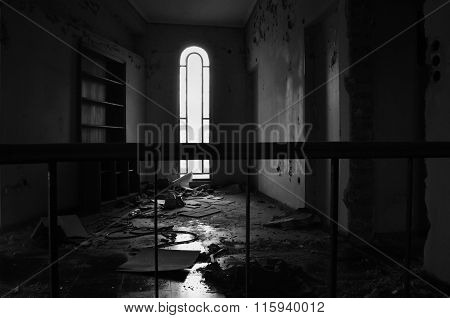 Arched Window And Dirty Floor