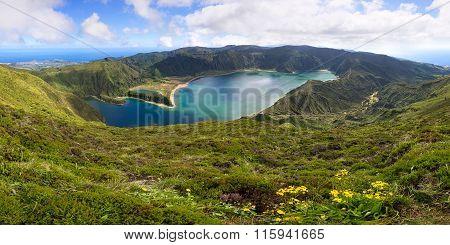 Volcanic Lagoon On Azores Island