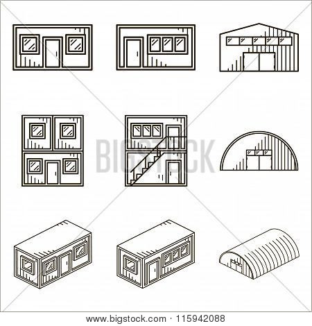 Set of black line vector icons for modular buildings on white ba