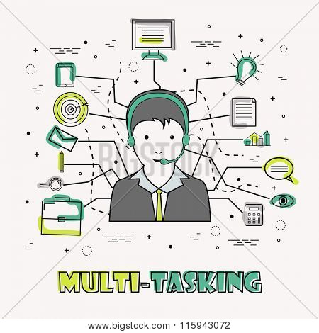 Creative illustration of Multi-Tasking Businessman with various different Infographic elements on grey background.