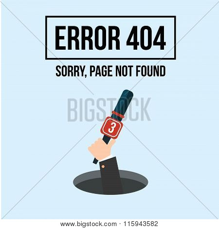 Human Hand Shows From Hole A Message About Page Not Found Error 404. Page Not Found. Error 404