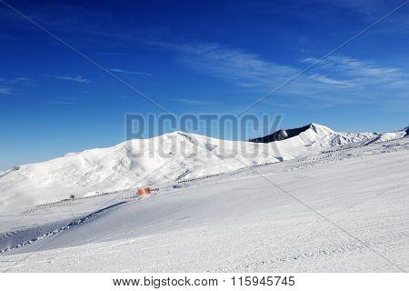 Ski Slope At Sun Day