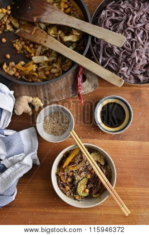 Black Rice Noodles With Stir Fried Vegetables, Soy Sauce,dried Chili And Sesame Seeds