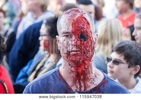 Man Dresses Like Zombie Missing Eyeball At Georgia Halloween Festival