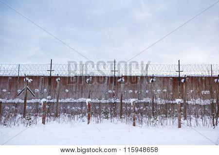 Old Soviet Union prison wall in Estonia.