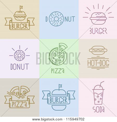 Vector fast food design elements. Linear style. Outline emblems and badges burger hotdog donat pizza and soda water. poster