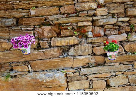 the Way of Saint James in Leon Las Herrerias flower pots in masonry wall