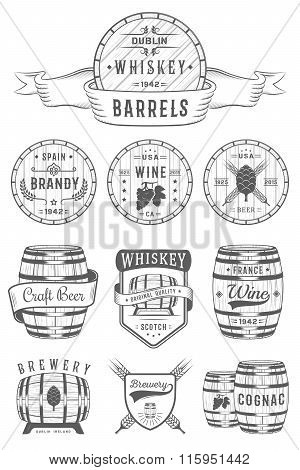 Set Of Vector Cask Alcohol Emblems