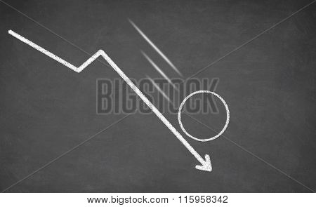 Line graph showing a downward trend