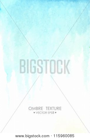 Hand drawn ombre texture. Watercolor painted light blue background with white space for text. Vector illustration for wedding, birhday, greetings cards, web, print, scrapbooking.