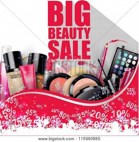 Discounted Cosmetic Products on white background