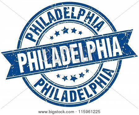 Philadelphia blue round grunge vintage ribbon stamp