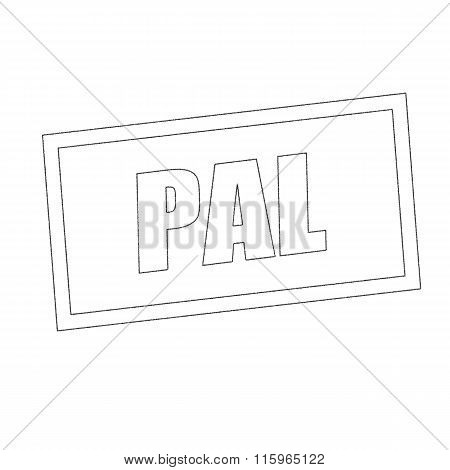 Pal Monochrome Stamp Text On White