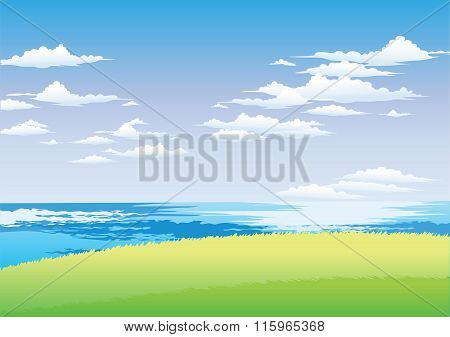 Vector Seaside Highland Ocean and sky view background