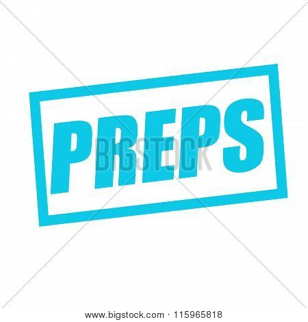 Preps Blue Stamp Text On White