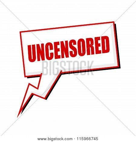 Uncensored Red Stamp Text On White Speech Bubbles