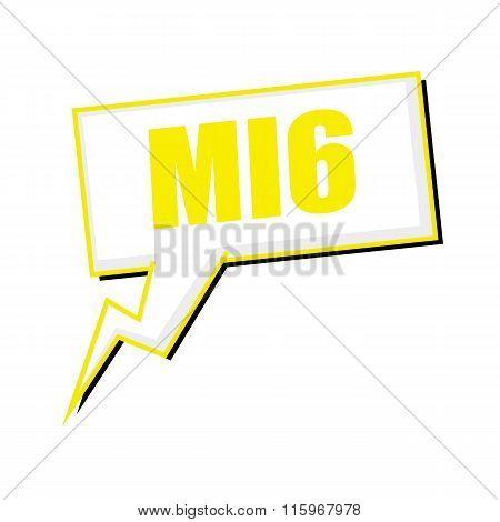 Mi6 Yellow Stamp Text On White Speech Bubbles