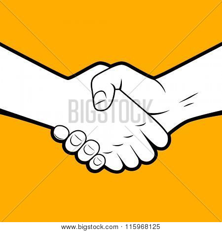 Handshake white silhouette with black contour on orange background. Business partnership and friendship symbol and metaphor. Vector illustration