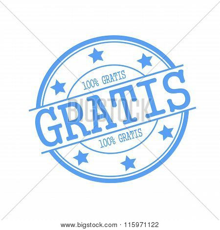 Gratis Blue Stamp Text On Blue Circle On A White Background And Star
