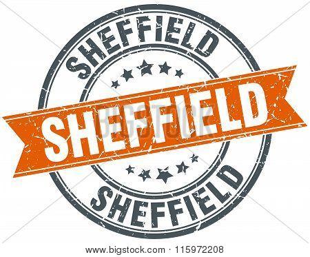 Sheffield orange round grunge vintage ribbon stamp