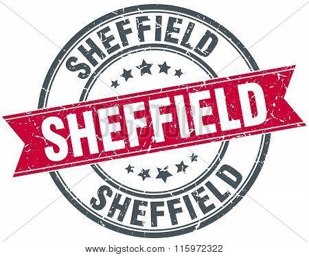 Sheffield red round grunge vintage ribbon stamp