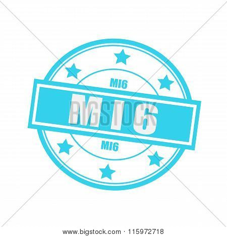 Mi6 White Stamp Text On Circle On Blue Background And Star