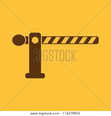 The barrier icon. Roadblock and borderline, stop, railroad crossing symbol. Flat