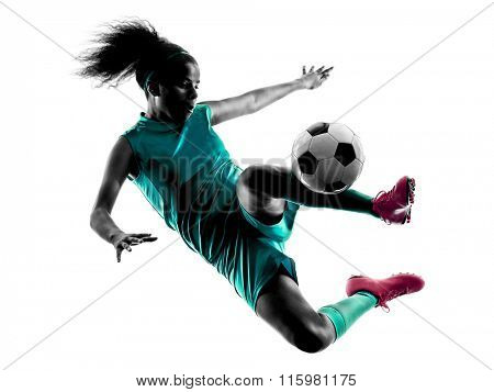teenager girl soccer player isolated silhouette