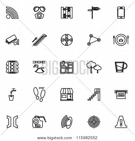 Pathway Related Line Icons On White Background