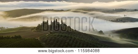 San Quirico d'Orcia,Italy-24.09.2015:Tuscan  Landscape In The Morning,Tuscany,Italy,sunny,misty morning in Val,d,Orcia