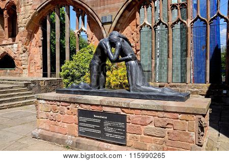 Reconciliation statue in Coventry Cathedral.