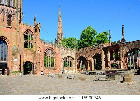 Inside the ruined Coventry Cathedral.