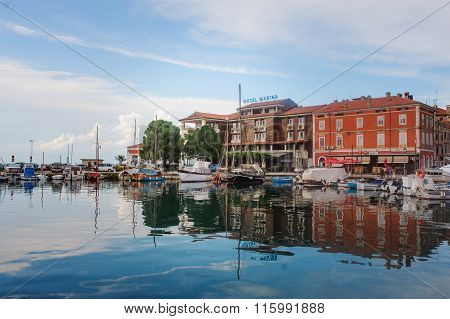 Izola Slovenia - September 10 2015: Hotel Marina city and sea view in summer