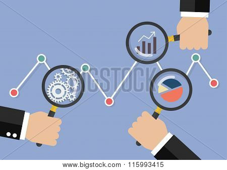 Hands Holding Magnifying Glass For Data Analysis