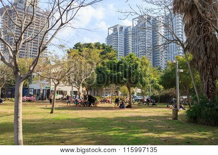 Tel-aviv, Israel - January 22, 2016: Park In Sarona