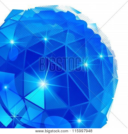 Vector Grain Technology Backdrop With Multifaceted Pixilated Cybernetic Object.