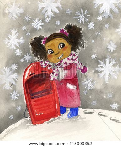 Young black girl with red sledge