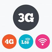Mobile telecommunications icons. 3G, 4G and LTE technology symbols. Wi-fi Wireless and Long-Term evolution signs. Circle flat buttons with icon. poster