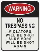 No Trespassing Violators Will Be Shot Survivors Will Be Shot Again. Street signpost. poster